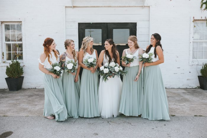 Real Bride Wearing Maggie Sottero Wedding Dress with Bridesmaids