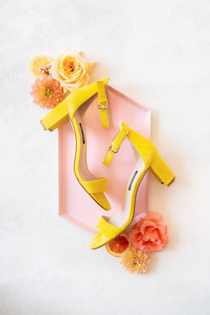 Open Toe Yellow Wedding Shoes for Citrus Wedding