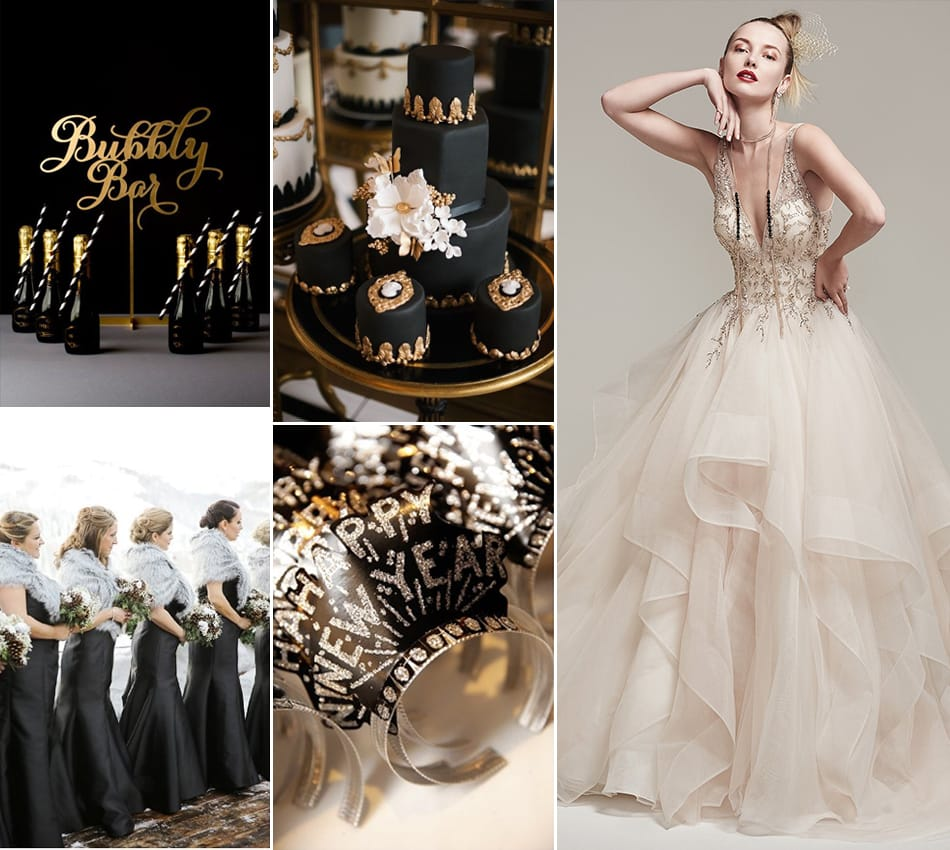 New Year's Eve Black and Gold Wedding Inspiration Palette featuring Amelie by Sottero and Midgley