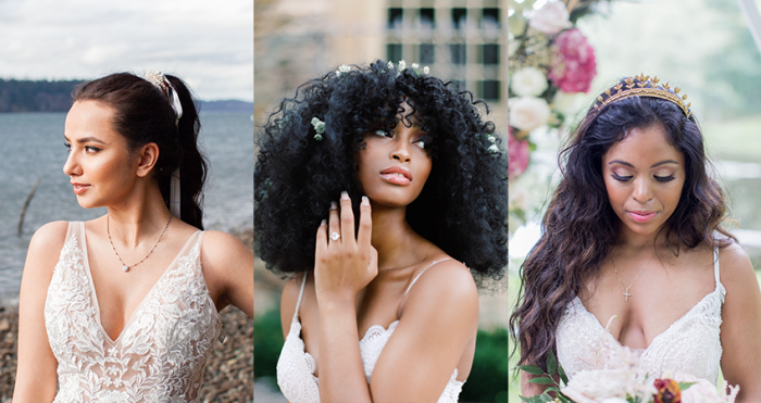 Collage of Brides Wearing Curly Wedding Hairstyles with Maggie Sottero Wedding Dresses