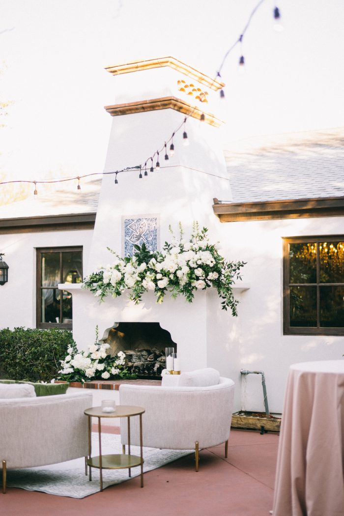 Swanky Modern Fireplace at Outdoor Reception