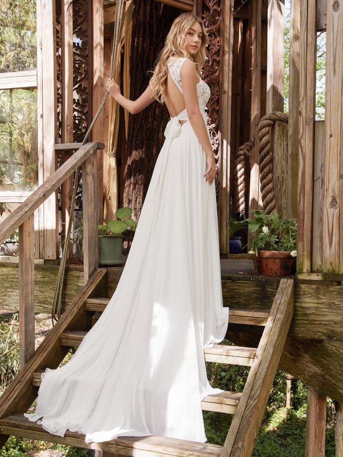 Model Wearing Open Back Wedding Dress Called Gabriella by Rebecca Ingram