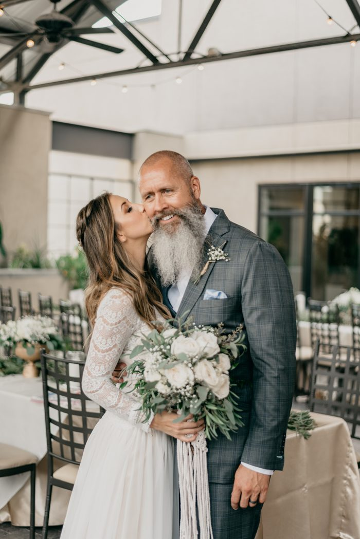 Real Bride Kissing Her Father on the Cheek at Real Wedding