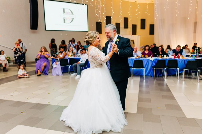 Father of the Bride Dancing at Real Wedding with Bride Wearing Ball Gown Wedding Dress by Maggie Sottero