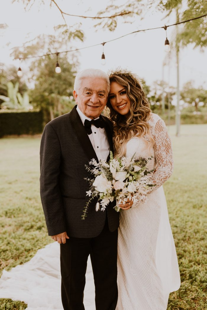 Father of the Bride Attire with Real Bride Wearing Wedding Dress Antonia by Maggie Sottero