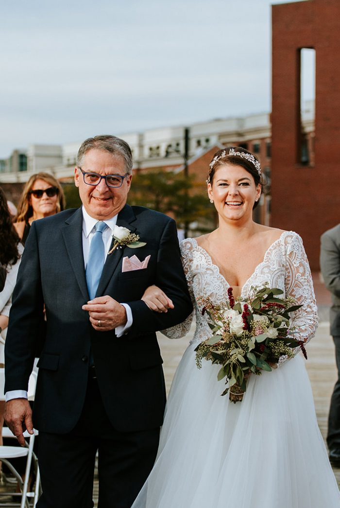 Father of the Bride Walking Bride Down the Aisle at Real Lakeside Wedding