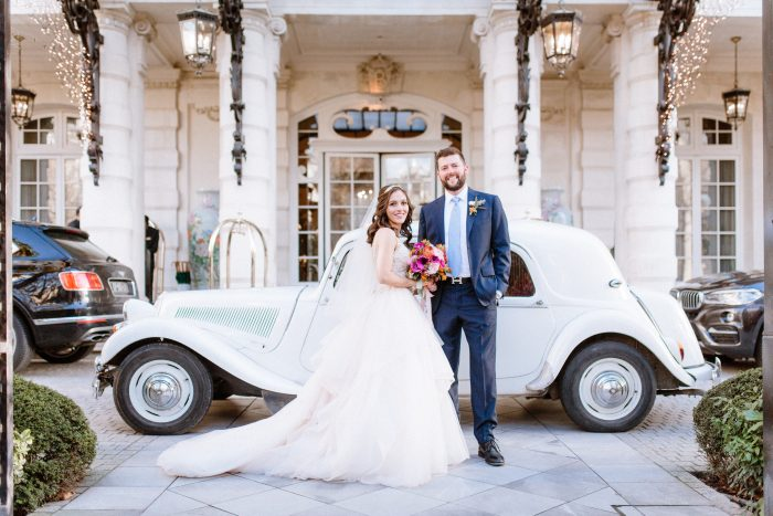 Groom with Real Bride in front of Christmas venue