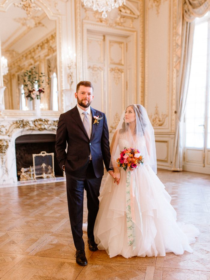 Real Groom with Bride Wearing Ballgown Wedding Dress Called Amelie by Sottero and Midgley