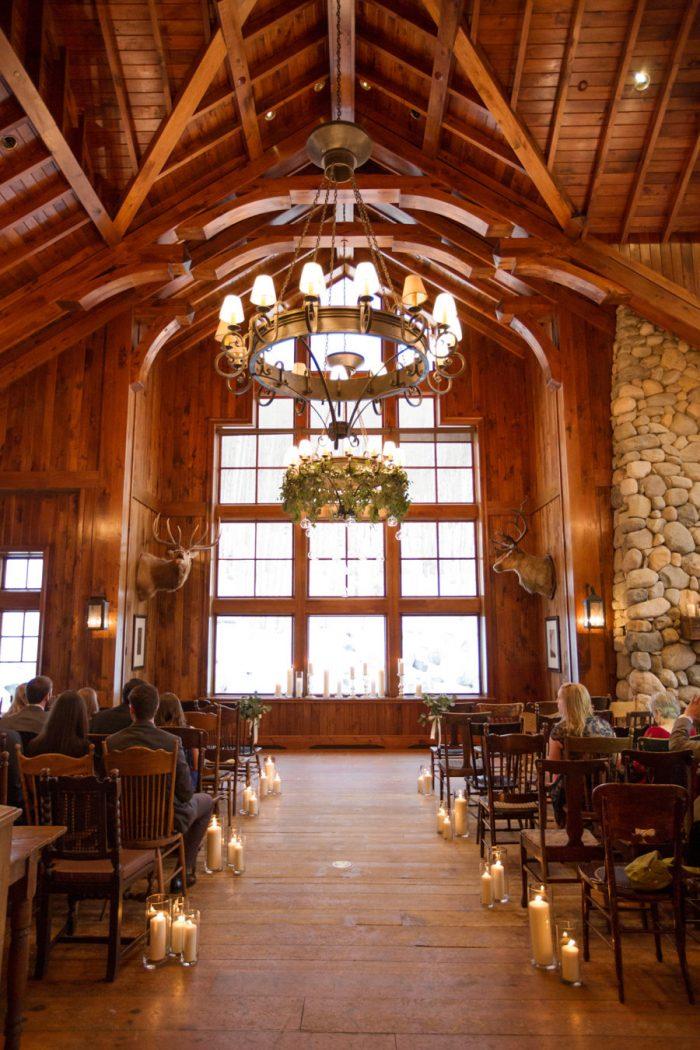 Cozy Cabin Holiday Wedding Venue Ceremony