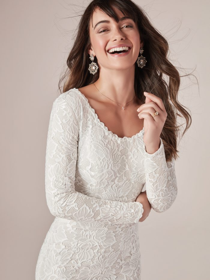 Long Sleeve Modest Sheath Wedding Gown Called Tina Leigh by Rebecca Ingram