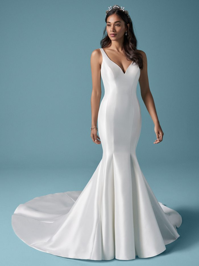Model Wearing Minimalist Mikado Wedding Dress Called Nadia by Maggie Sottero