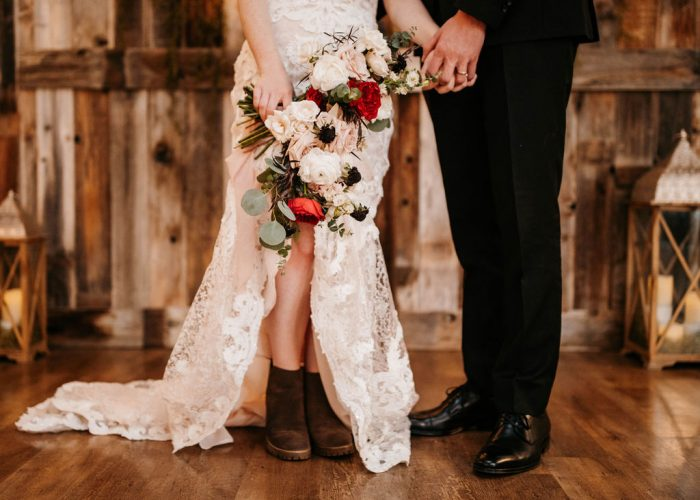 Bride Wearing Cute Ankle Bridal Boots for Winter Wedding