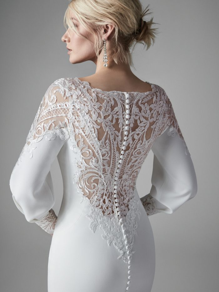 Model Wearing Illusion Lace Back Crepe Wedding Dress Called Armante by Sottero and Midgley