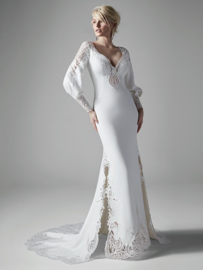 Model Wearing Vintage Puff Sleeve Wedding Dress Called Armante by Sottero and Midgley