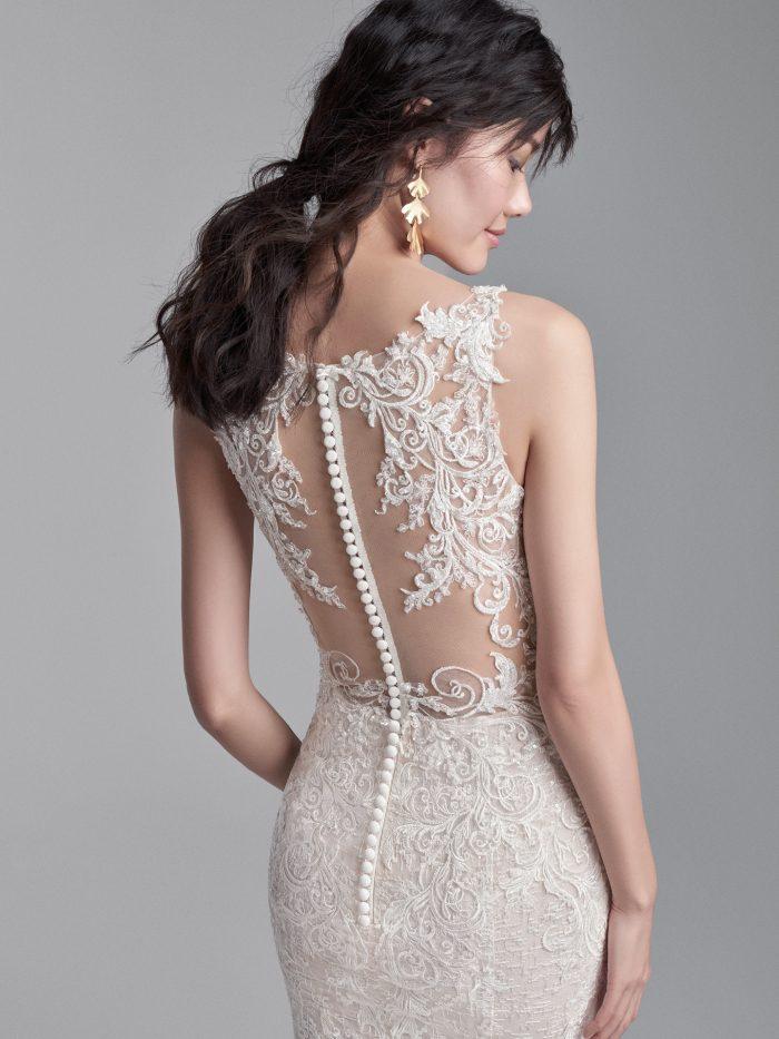Asian Model Wearing Dramatic Back Wedding Dress Called Edmund by Sottero and Midgley