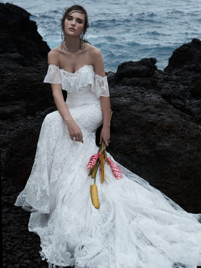 Bride Wearing Off-the-Shoulder Lace Mermaid Wedding Dress Called Conrad by Sottero and Midgley