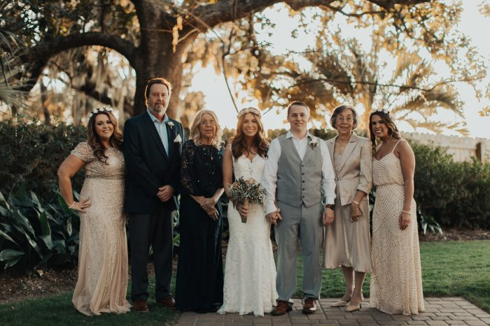 Real Bride with Wedding Party at Summer Wedding