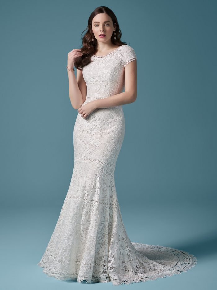 Bride Wearing Model Wearing Modest Lace Fit-and-Flare Wedding Dress