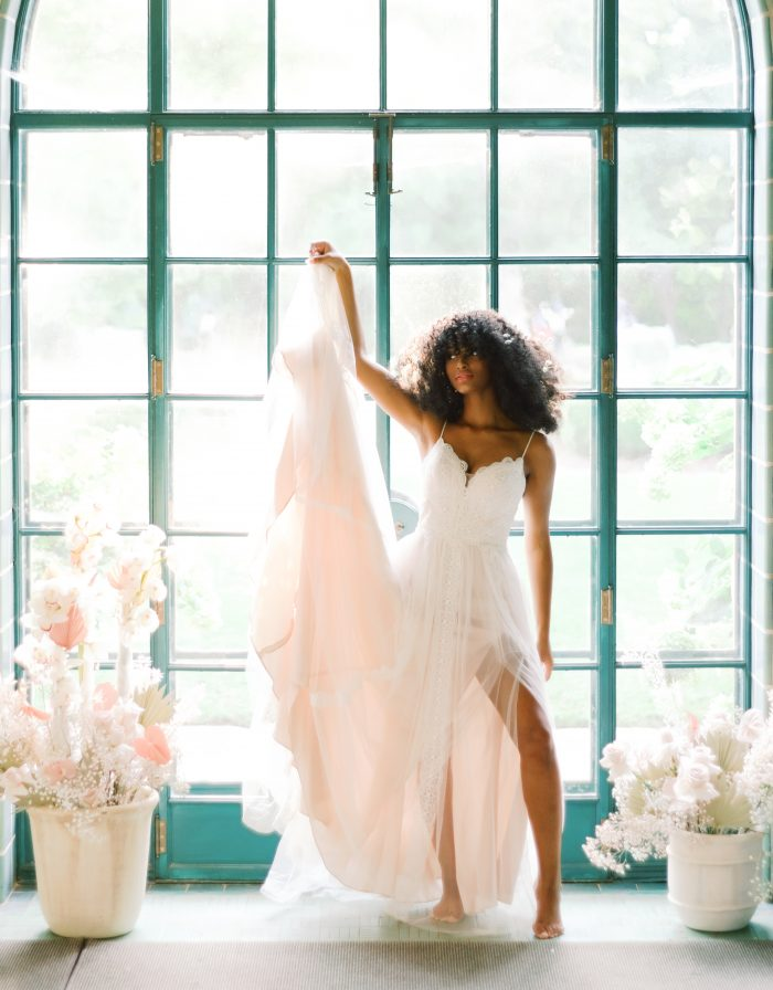Black Bride Wearing Bohemian Wedding Dress Called Olson by Sottero and Midgley