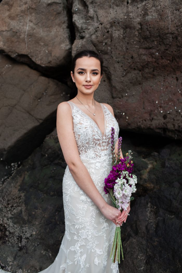 Model Wearing Floral Fit-and-Flare Wedding Dress Called Greenley by Maggie Sottero