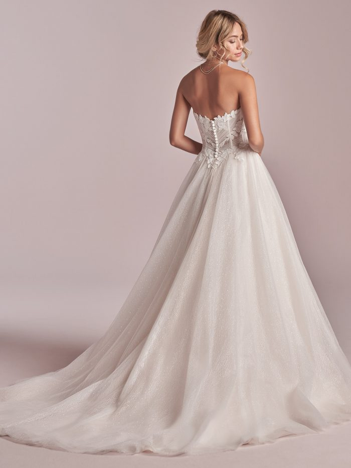 Model Wearing Affrordable Princess Wedding Gown Called Remy by Rebecca Ingram