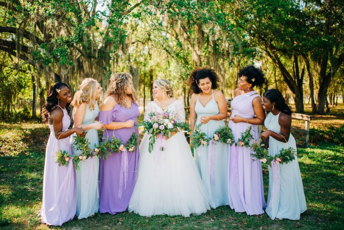 Bridesmaids with Real Bride in Florida Wearing Lace Ball Gown Wedding Dress Called Mallory Dawn by Maggie Sottero
