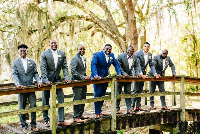 Haitian Groom with Groomsmen at Real Wedding on Bride