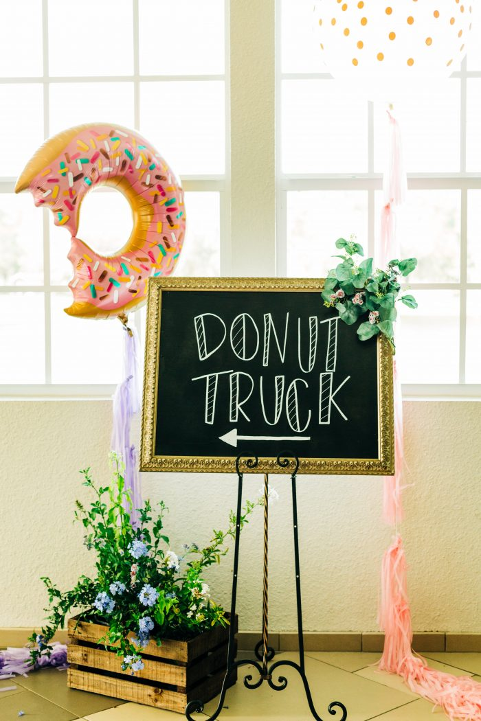 Wedding Details Sign that Says Donut Turck that Way with Donut Balloon