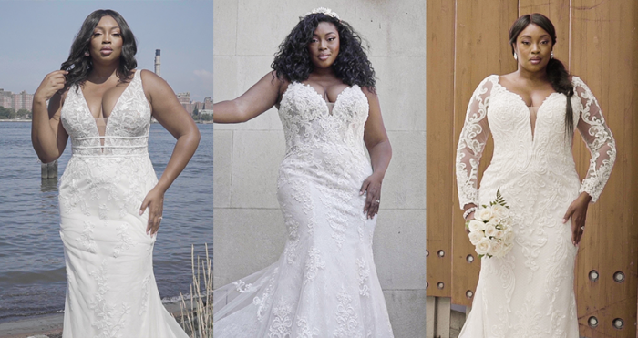 Collage of Plus Size Models Wearing New Curvy Wedding Dresses by Maggie Sottero