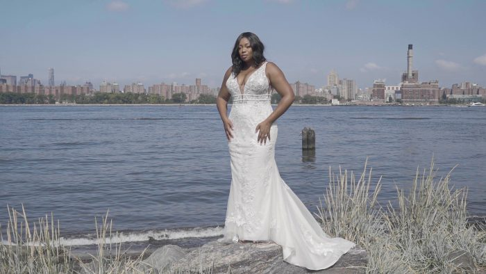 Black Bride Wearing Affordable Sheath Wedding Dress Called Angie by Rebecca Ingram