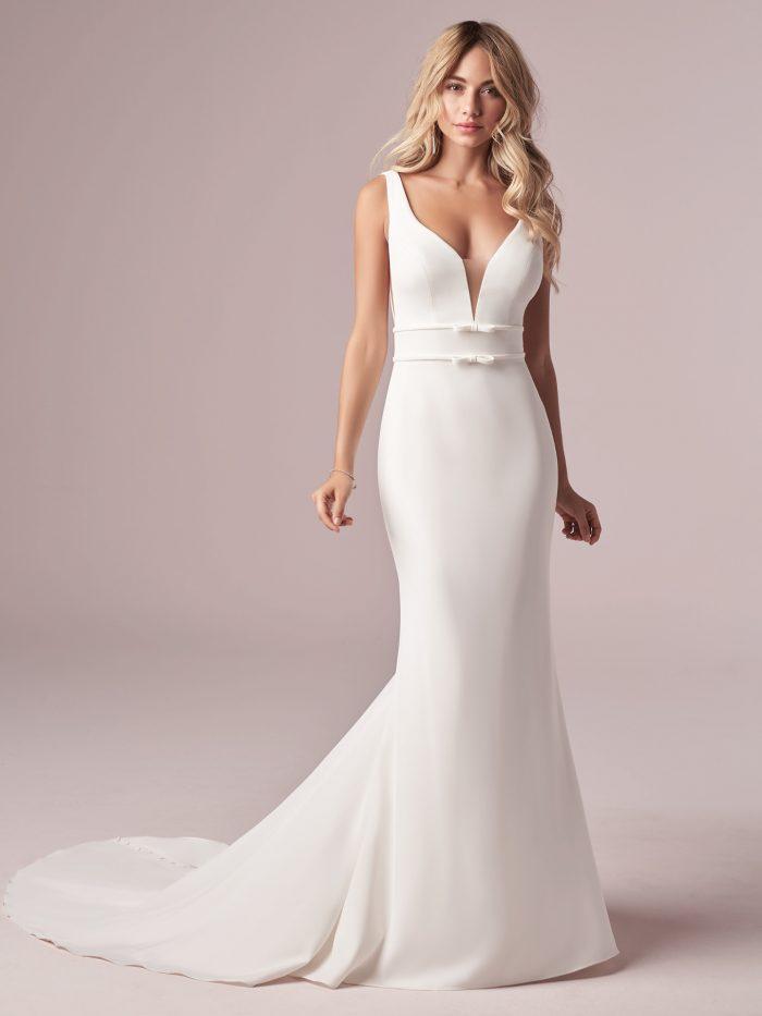 Model Wearing Affordable Ivory Wedding Dress Called Danica by Rebecca Ingram