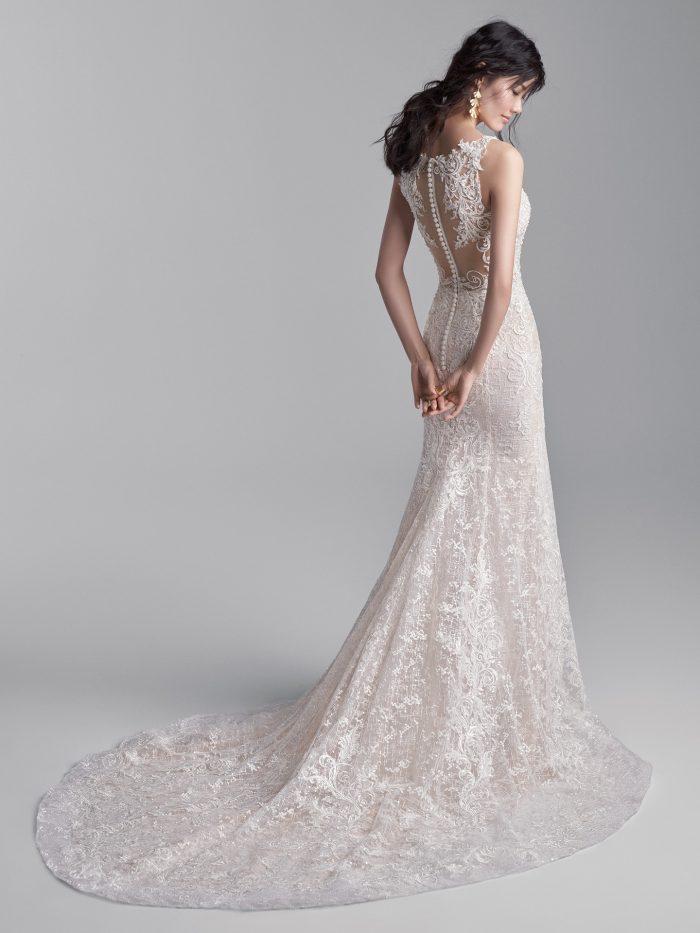 Model Wearing Sparkly Sheath Wedding Dress Called Edmund by Sottero and Midgley