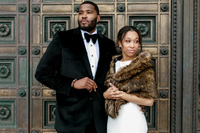 Groom with Real Bride Wearing Fur Coat and Classy Wedding Dress Called Evangelina by Maggie Sottero at Real Classic Wedding