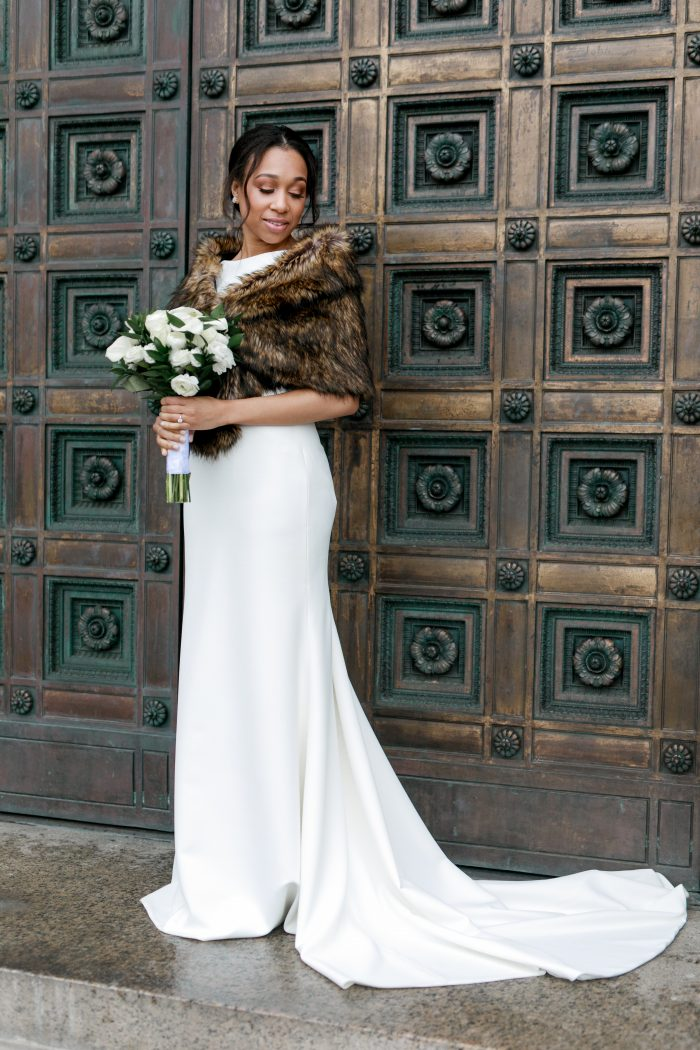 Real Bride Wearing Elegant and Classic Wedding Dress Called Evangelina by Maggie Sottero