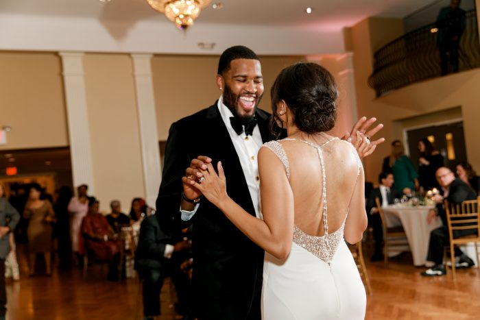 Groom with Real Bride During First Dance at Real Classic Wedding