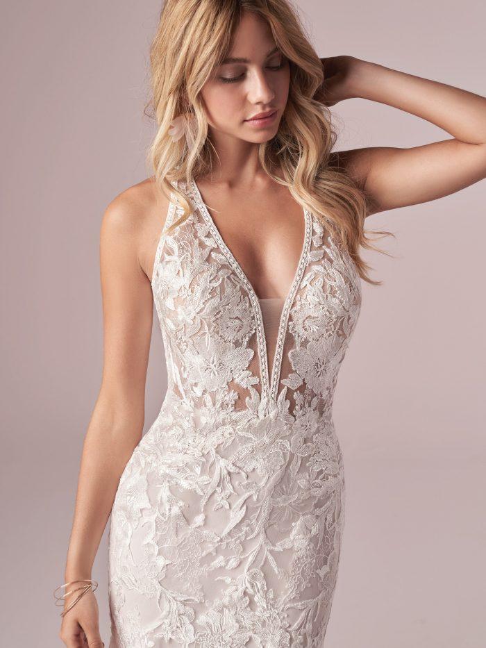 Model Wearing Sexy Backless Beach Mermaid Wedding Dress Called Elizabetta by Rebecca Ingram