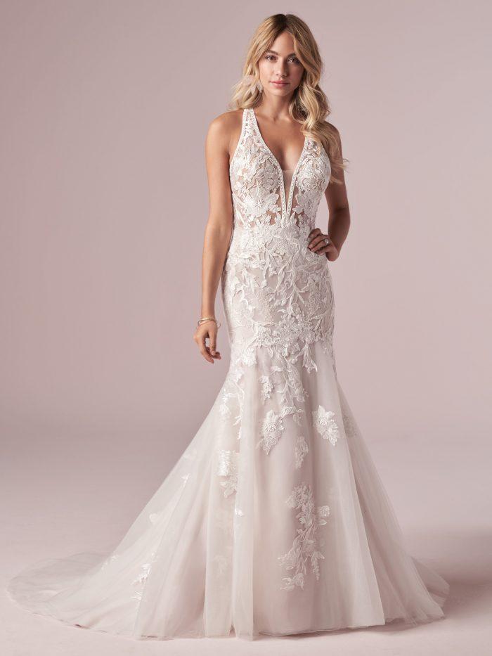 Model Wearing Affordable Backless Beach Mermaid Wedding Dress Called Elizabetta by Rebecca Ingram