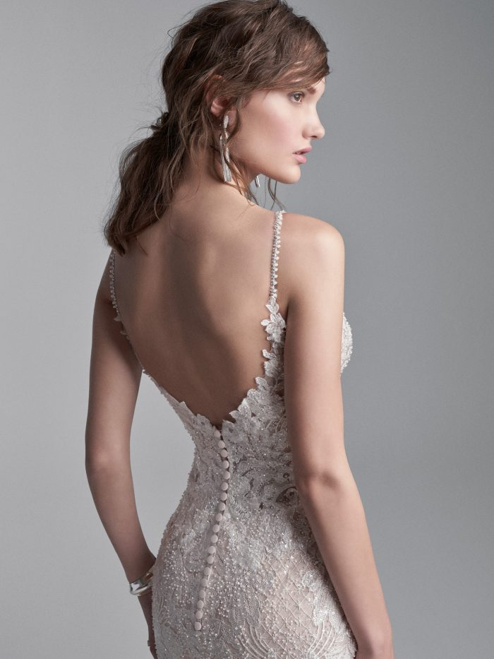 Model Wearing Sexy Floral Sheath Wedding Dress with Long Train Called Canterbury Marie by Sottero and Midgley