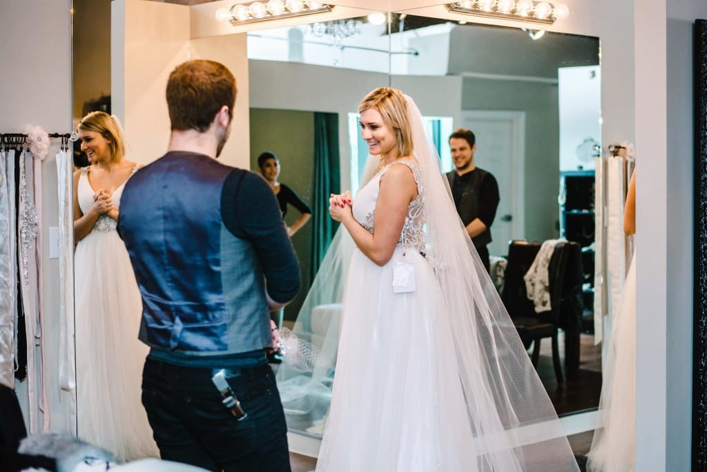 Bride Shopping for Her Dream Wedding Dress at Bridal Boutique