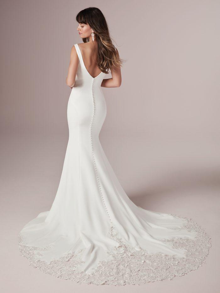Model Wearing Simple Sexy Wedding Dress Called Alice by Rebecca Ingram