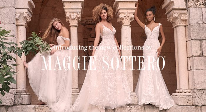 Header with Three Diverse Models Wearing Spring 2021 Wedding Dresses by Maggie Sottero