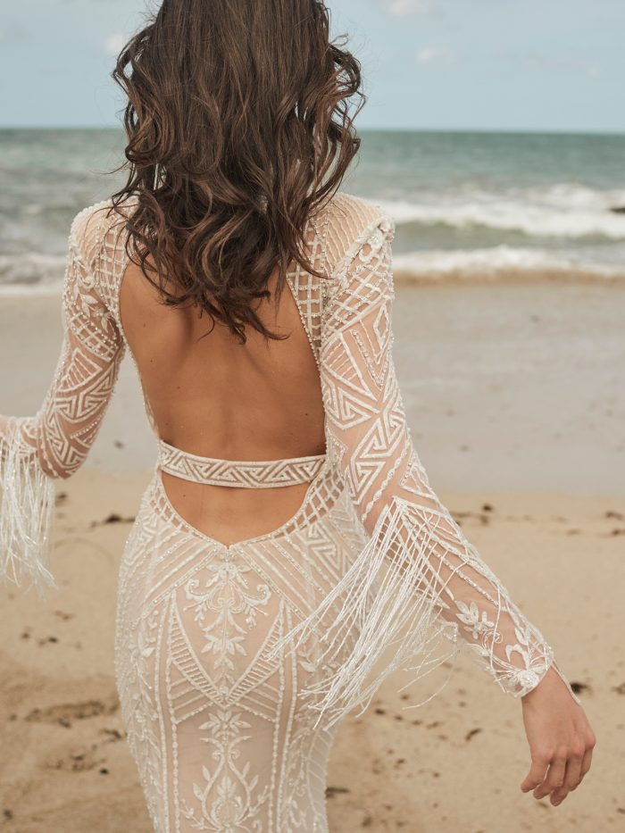 Model Wearing Backless Art Deco Beaded Wedding Dress Called Andrew by Sottero and Midgley