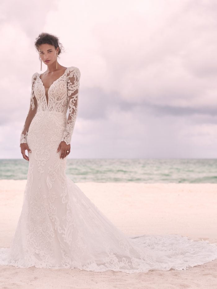 Model Wearing Elegant Lace Fit-and-Flare Wedding Dress Called Hamilton by Sottero and Midgley