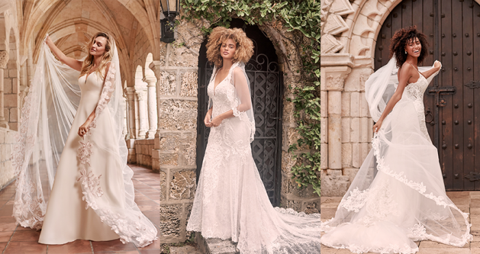 Collage of Models Wearing Gorgeous Vintage Wedding Veils and Wedding Dresses by Maggie Sottero