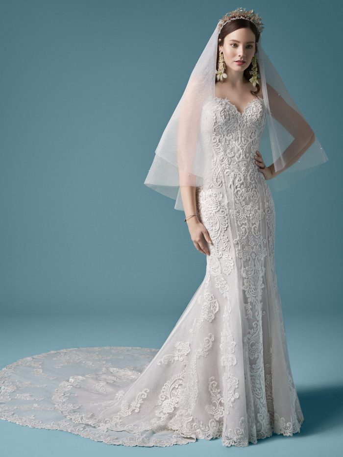 Model Wearing Strapless Lace Wedding Gown with Fingertip Sparkle Tulle Wedding Veil Called Erin Marie by Maggie Sottero