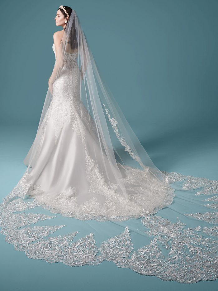 Model Wearing Embroidered Lace Mermaid Wedding Dress and Vintage Wedding Veil Called Milena by Maggie Sottero