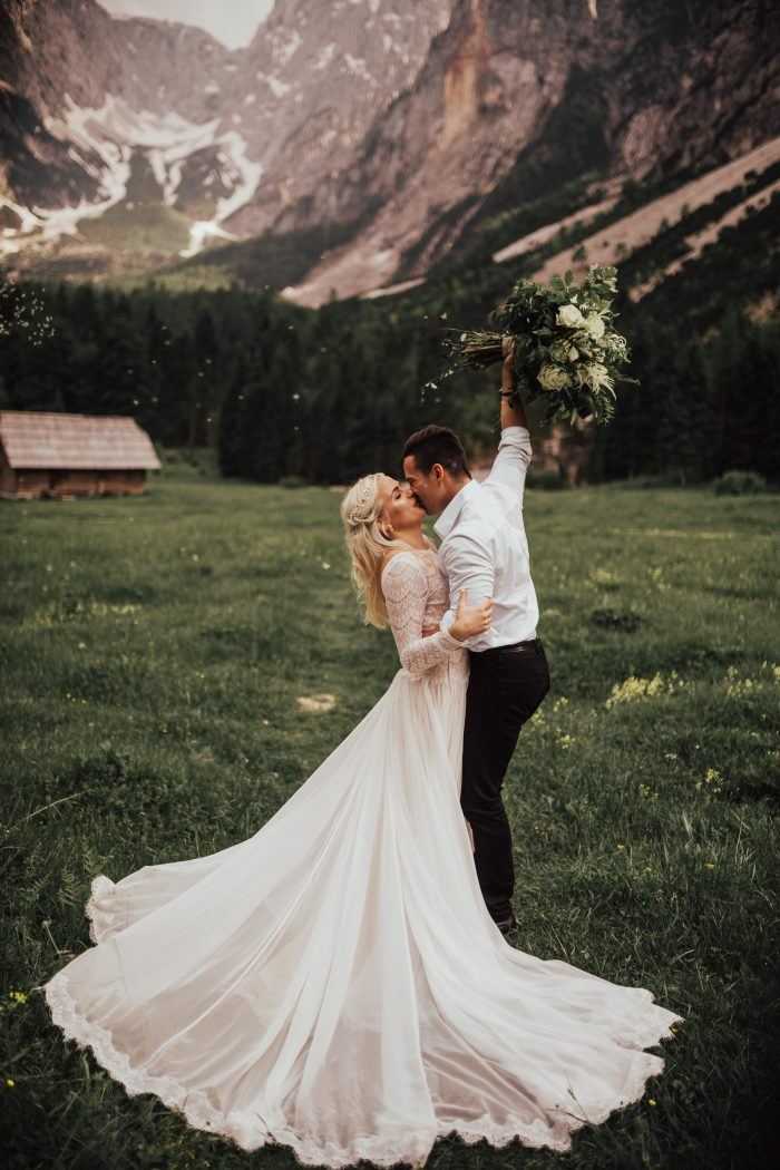 Groom with Bride at Mountain Resort in Slovenia for Destination Elopement