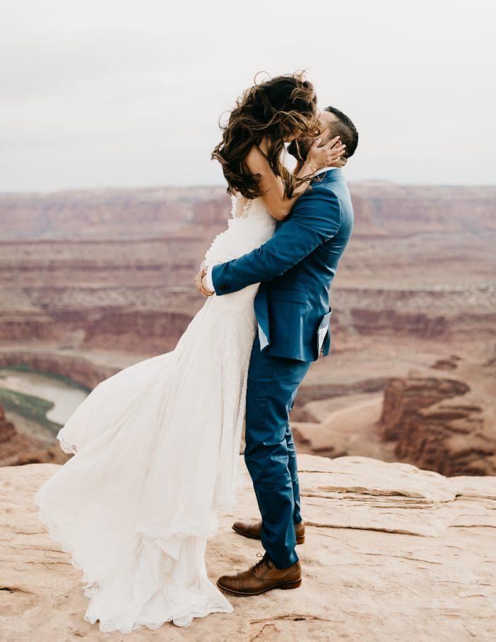 Groom Kissing Real Bride at Romantic Wedding Destination of Moab Utah