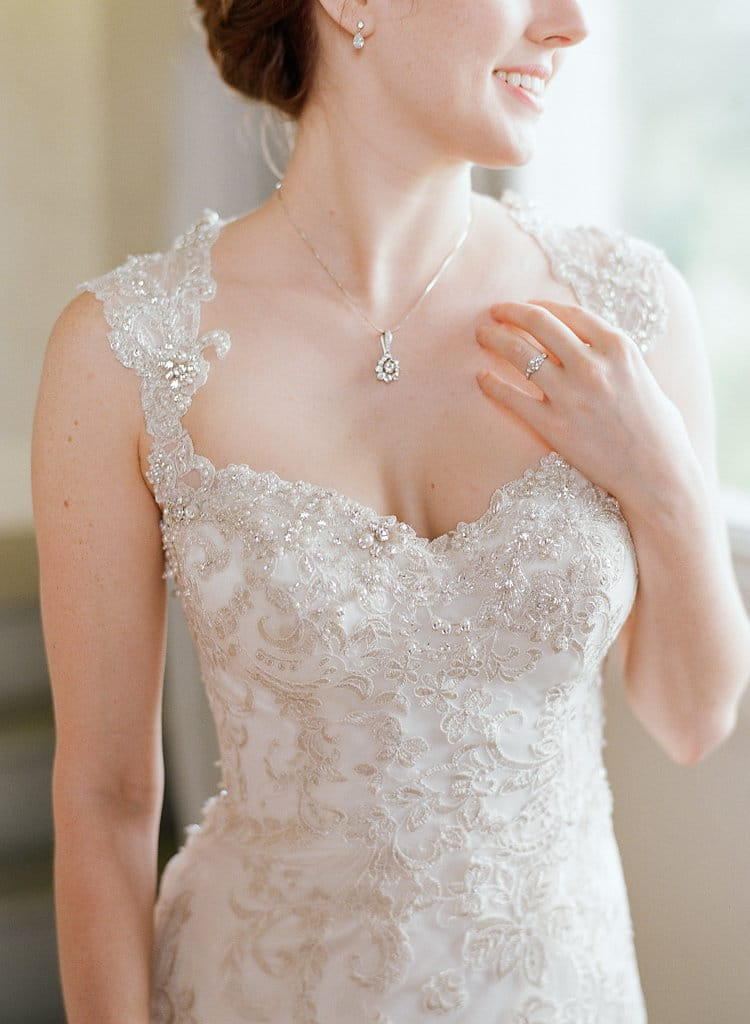 Real Bride Wearing Sparkly Sheath Wedding Dress by Maggie Sottero
