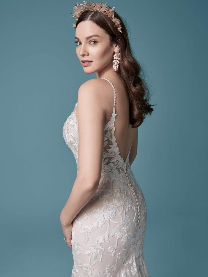 Model Wearing Boho Sheath Wedding Dress Giana by Maggie Sottero